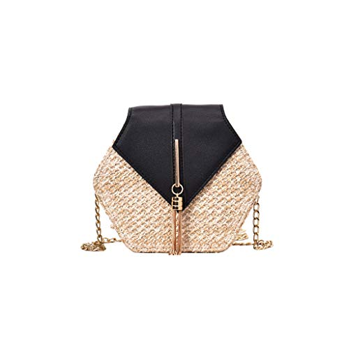 SMALLE ◕‿◕ Mini Crossbody Cell Phone Purse, Women Fashion Weave Leather Tassel Bag Crossbody Bag Shoulder Bag Handbags Black