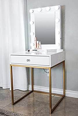 quality design f10fe d8894 Glamstation Makeup Vanity and Lighted Mirror Set, 10 Dimmable LED Lights,  White With Your Choice Of Gold Or Silver Legs, Large Top For Accessories  And ...