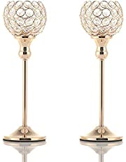 VINCIGANT Gold Crystal Candle Holders Decor for Wedding Centerpieces, Candlestick Holder for Candlelight Dinner Decoration, Dining Table Accent (Crystal Candle Holder Set of 2)