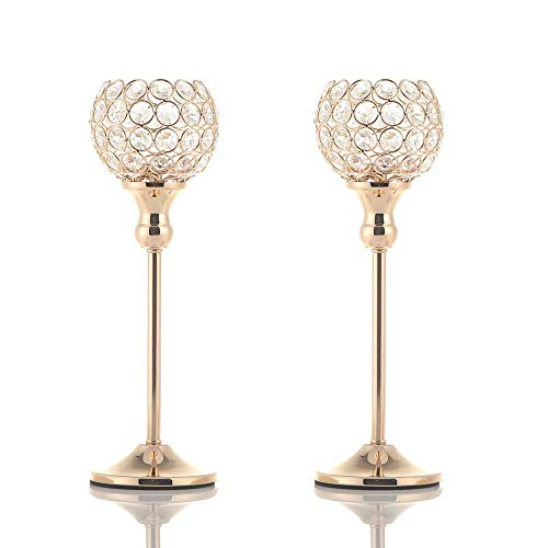 VINCIGANT Gold Crystal Votive Candle Holders for Fireplace Coffee Table Mantle Decor Centerpieces,Pair of 2 (Beaded Candle Holder)
