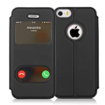 iPhone SE Case, iPhone 5S Case, iPhone 5 Case, FYY Magnetic Smart Cover Stand Case with Window View Function for Apple iPhone SE/5S/5 Black