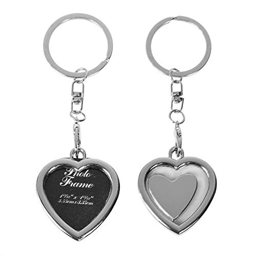 Art Attack Silvertone Matching Hearts BFF Best Friends Picture Photo Frame Holder Locket Keychain Bag Charm