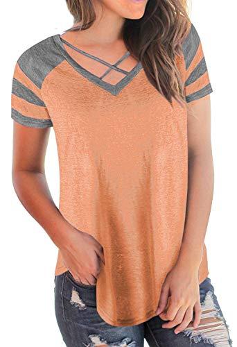 Mlanges T Crossover Orange Shirt Chemise Fit Blouse Courtes Spcial Blouse Couleurs Style Femme Jeune Mode Mode Cou Branch T lgant Slim Manches Et V Shirts YY4Wrnx