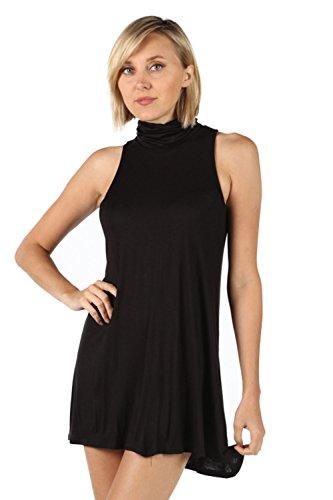 High Neck Colored Sleeveless Dress. (Large, Black)