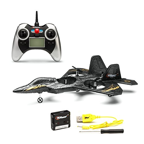 (F22 Remote Control Fighter Jet Plane, 4 Channel Quad Copter with 3-Axis Gyro Technology, Black)