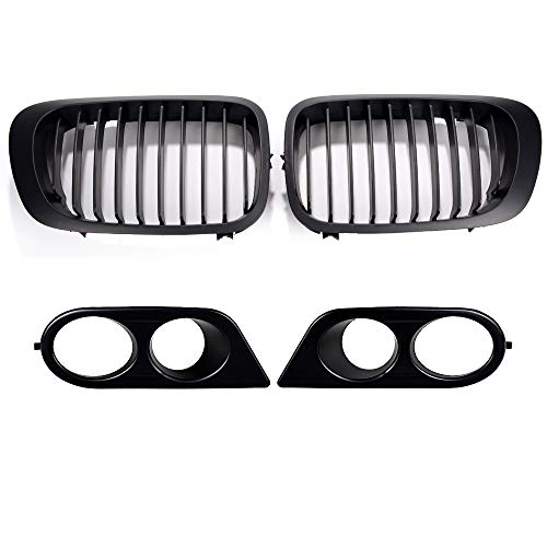 - 2X Front Luxury Hood Kidney Grille Grille and 2X Front Lower Bumper Fog Light Cover Compatible with 2001-2002 BMW E46 2-Door Pre-Facelift Cabriolet Coupe (Matte Black)