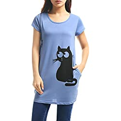 Allegra K Women Round Neck Short Sleeve Cat Prints Loose Tunic Top S Blue