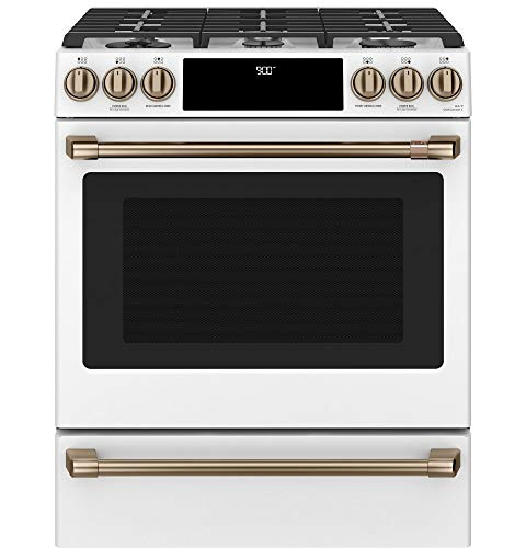 Cafe C2S900P4MW2 30 in. 5.7 cu. ft. Slide-In Dual Fuel Range with Self-Cleaning Convection Oven in Matte White, Fingerprint Resistant