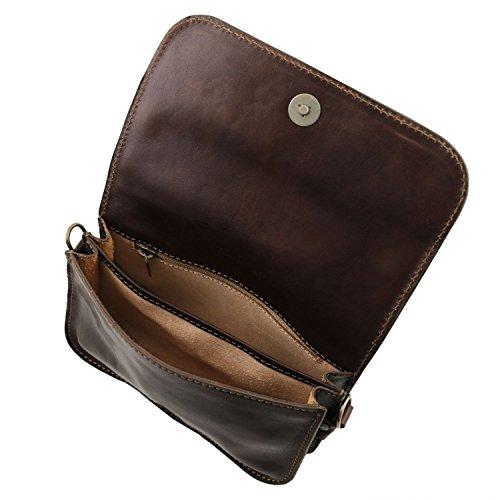 en avec Tuscany foncé Carmen Marron Foncé bandoulière Marron Leather Cuir Sac Rabat nWn4qF7fZI