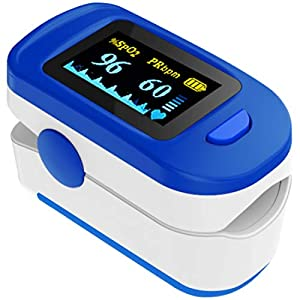 AccuSure Fingertip pulse oximeter with OLED Display, Audio Visual Alarm with free AccuSure N95 Earloop Face Mask (blue)