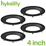 4 inch Recessed LED Trim Ring Round Black Aluminum for Hykolity LED Recessed Downlight - Pack of 4