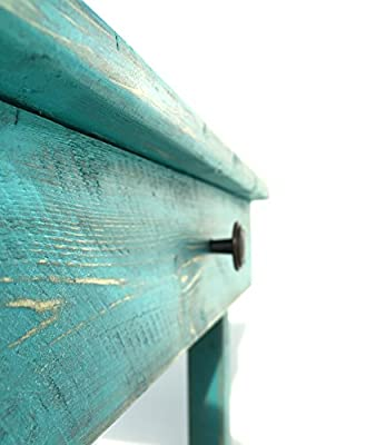 Night Stand With Drawer/Modern Farmhouse End Table/Rustic Table/Side Table/Bedside Table/Custom/Distressed Table/Turquoise Finish