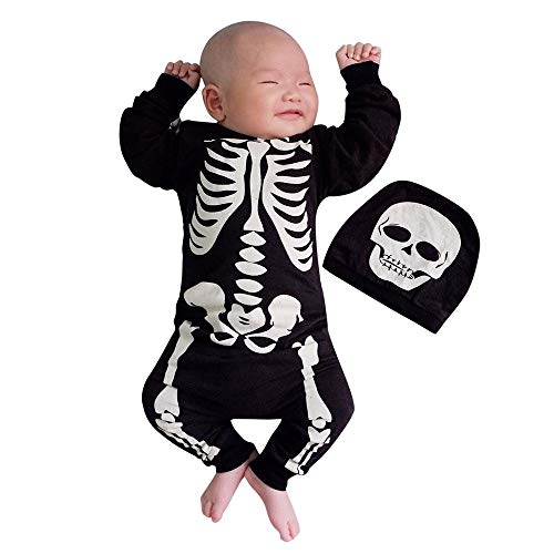 Clearance Newborn Outfits Clothes Baby Boys Girls Halloween Bone Print Romper Jumpsuit + Cap 2Pcs Set (70, -