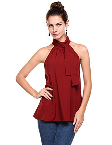 Pinspark Summer Sexy Halter Tank Tops Sleeveless High Neck Chiffon Party Blouse Shirts for Women (Red, Medium) ()