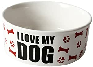 """DEI Stoneware Just Dogs Collection """"I Love My Dog"""" Bowl, 7.5-Inch"""