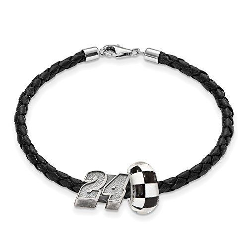 Mia Diamonds Sterling Silver Antiqued LogoArt NASCAR #24 William Byron GlaSterling Silver Leather Bracelet