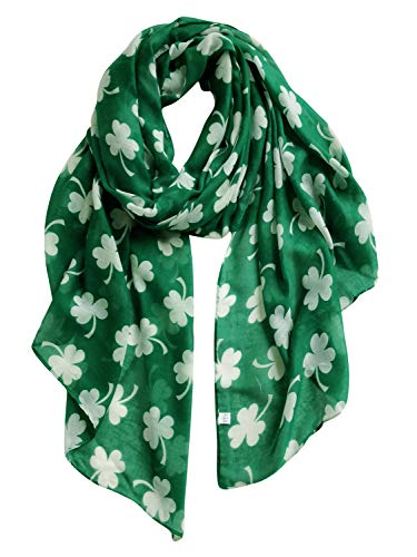 GERINLY Shamrock Pattern Scarf Fashion Spring Wrap Shawl for Travel Head Scarf Unique Hijab (Green)