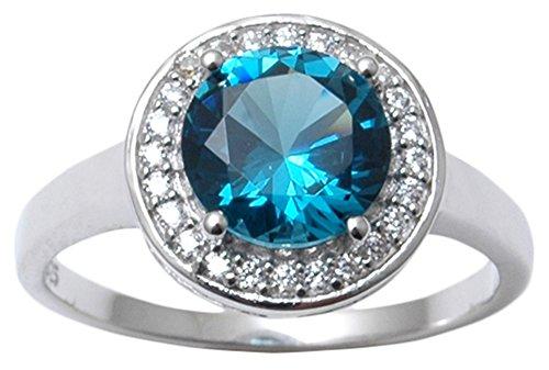 Banithani 925 Sterling Silver London Blue Topaz Stone Women Finger Ring...
