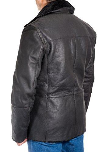 piel de coat pea hombres oveja de Negro alemanes Con Negro Abrigos marinos long wFdqAz5