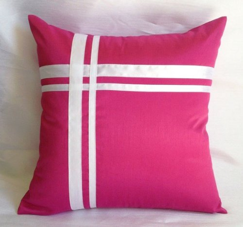 (Creative Faux Silk Stripe Euro Sham/Pillow Cover 26 by 26 - Hot Pink)
