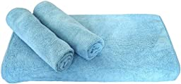 Linteum Textile Lint-Free Soft MICROFIBER CLEANING CLOTHS Auto Polishing Towels 16x16 in. 12-Pack Blue