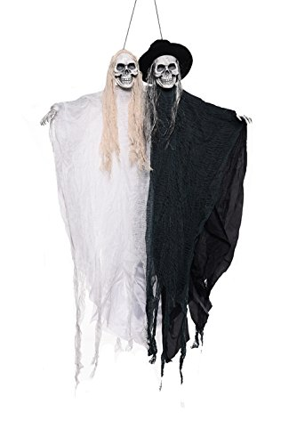 CHOP MALLHappy Halloween Decorations Horrible Skull Ghost Couple Battery Operated With Flashing Eyes and Haunted Evil Sounds