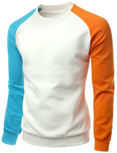 Raglan Tone T-shirt (Men's 3 tone Raglan Style Trendy Man-to-man T shirt IVORY M)
