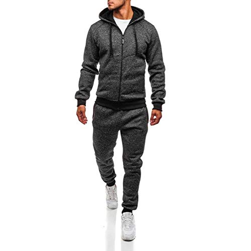 GREFER Men's Autumn Winter Tracksuit Patchwork Sweatshirt Top Pants Sets Sports Suit Dark Gray (Pullover Track Cotton)