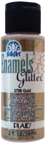 FolkArt Enamel Glitter and Metallic Paint in Assorted Colors (2 oz), 2798, Glitter Gold (Gold Painting Glitter)