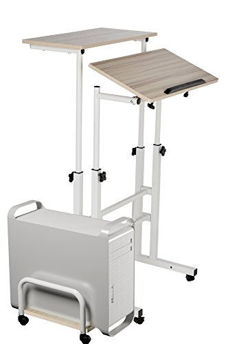 Mobile Stand Up Computer Desk with Wheels Two Tiers a Printer Stand for Sitting or for a Stand up Suitable for a Laptop or a Desktop.