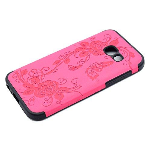 inShang Funda para Samsung Galaxy A3(2017) suave TPU Carcasa Cajas Soporte Skin case cover Para Galaxy A3(2017) + clase alta 2 in 1 inShang marca negocio Stylus pluma Rose butterfly flower