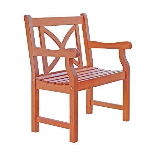 Cheap  VIFAH V99 Outdoor Wood Arm Chair X-Back Design, Natural Wood Finish, 23..