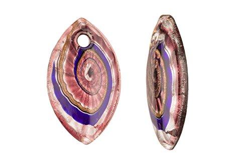 Wavy Swirl Design Purple Base Marquisee Lampwork Glass Pendant 35x60mm