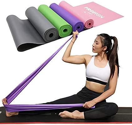 Bandas Elasticas Fitness sin Látex Resistencia Bandas de Ejercicios con Nivel de Marca (Ligero, Mediano, Pesado, X-Pesado) para Pilates Yoga ...