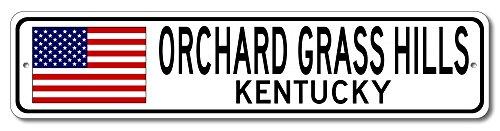 The Lizton Sign Shop Orchard Grass Hills, Kentucky Aluminum America Flag Sign, USA Custom Flag Sign - - Orchard Hills Computer Corner