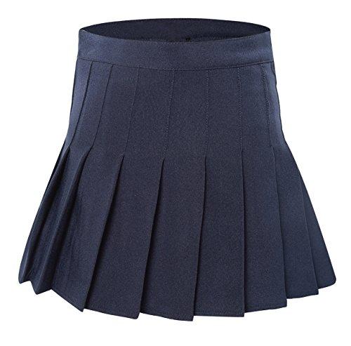 Tremour Women's High Waist Pleated Short School Skirt Costumes(XL Dark -
