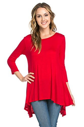 Red 3/4 Sleeve Top - 6