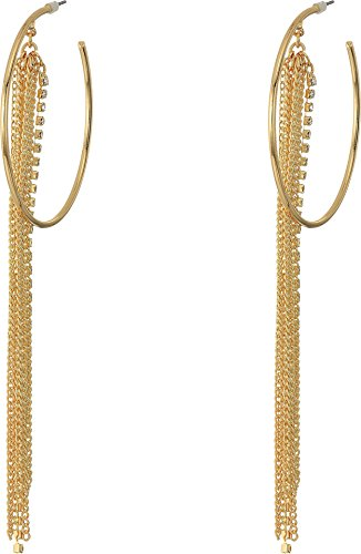 Chain Fringe Earrings - GUESS Hoop Earrings W Stones, Gold, Adjustable