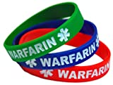3-pack of Adult Size (8 Inch) Warfarin Medical Alert Silicone Bands Bracelets