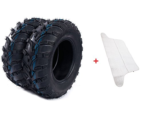 2 Front ATV Tires AT 25x8-12 /6 Ply P373 Pair of Million Parts(Come with Car Sunlight Snow Shield Matte Black)