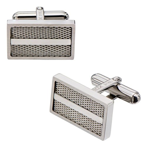 Inox Jewelry Bold And Stainless Steel Mess Design Cufflinks (Grey)