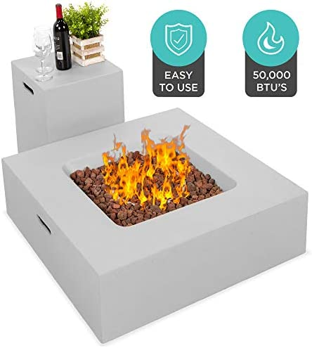 Best Choice Products 35×35-inch 40,000 BTU Square Propane Fire Pit Table for Backyard, Poolside w Gas Tank Storage Side Table, Weather-Resistant Pit Cover, Lava Rocks, Gray