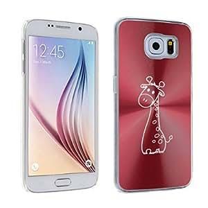 Samsung Galaxy S6 Edge Aluminum Plated Hard Back Case Cover Cute Giraffe (Red)