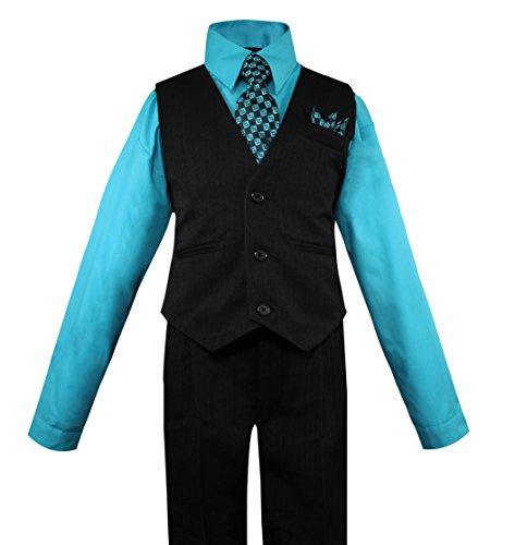 Luca Gabriel Toddler Boys' 4 Piece Pinstripe Vest Shirt Tie Pant and Hanky Set Turquoise - ()