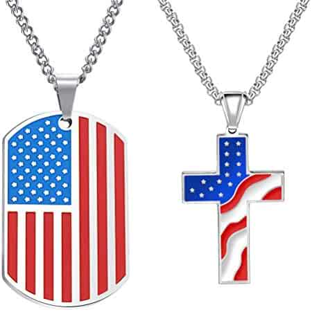 2972330fe Cupimatch 2pcs American USA Flag Patriotic Cross Dog Tag Pendant Necklace  Set Stainless Steel Stars and Stripes Necklace 22