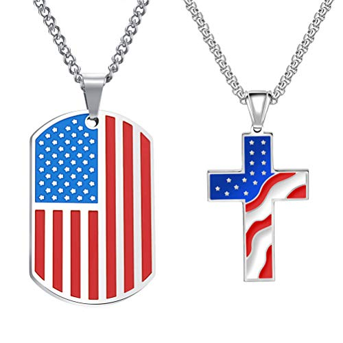 Cupimatch 2pcs American USA Flag Patriotic Cross Dog Tag Pendant Necklace Set Stainless Steel Stars and Stripes Necklace 22