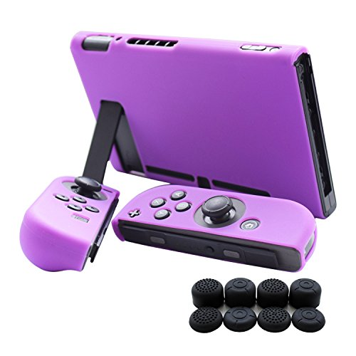 Hikfly 3pcs Silicone Gel Non-slip Cover Skin Protector Case Kits Compatible For Nintendo Switch Consoles & Joy-con Controllers With 8pcs Silicone Gel Thumb Grips Caps(purple)