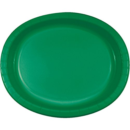 Creative Converting 8 Count Oval Paper Platters, Emerald Green