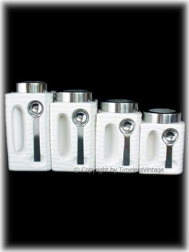 Set 4 Retro White Ceramic Kitchen Canisters With Spoons