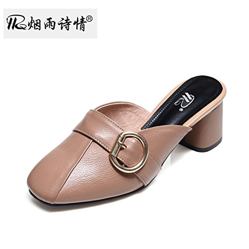 Pantofole Baotou I Secondo La Apricot Pantofole E Tacchi Fico Primavera Tacchi KPHY Ruvido Pantofole color L'Estate SRnOaO